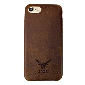 GAZZI iPhone 8 Plus, iPhone 7 Plus Hülle Leder Case Schale BackCover Lederhülle Handyhülle Schutzhülle Echt Leder, Rundumschutz, Flexible Schale, VINTAGE BRAUN