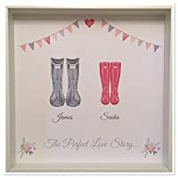 Personalised Watercolour Family Wellington Boots Print FRAMED Picture Design 4