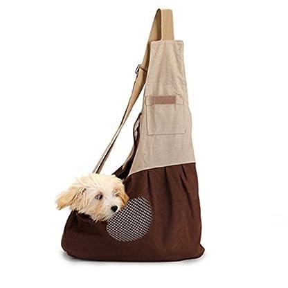 Pet Carrier Backpack Comfort Breathable Travel Tote Shoulder 100% Cotton Sling Bag with Pouch Adjustable Strap For Dog… 1