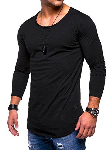 MT Styles Herren Oversize Longsleeve Crew Neck Sweatshirt T-Shirt MT-7315 [Schwarz, M]