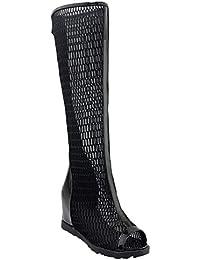 MissSaSa Damen Keilabsatz Peep-Toe Leder Sommer-Stiefel
