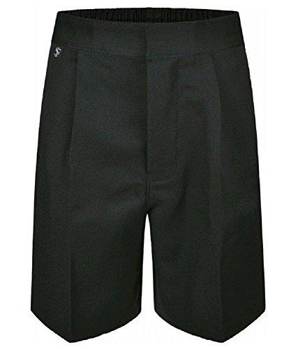 Ages 9-16 Plus Size Boys Mens School Shorts Elasticated Waist Black Grey Navy Sturdy Wider Fit