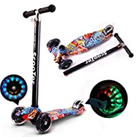 Coolbaby Kids Scooter 3 Wheel 4 Wheel Mini Adjustable Kick Scooter with LED Light Up Wheels