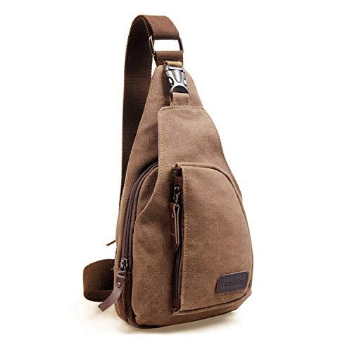 Termichy Coole Outdoor Sports beiläufige Segeltuch Unbalance Rucksack Umhängetasche Sling Bag, Schleuder Tasche Chest Pack,Schulterrucksack Brusttasche für Männer(Braun)