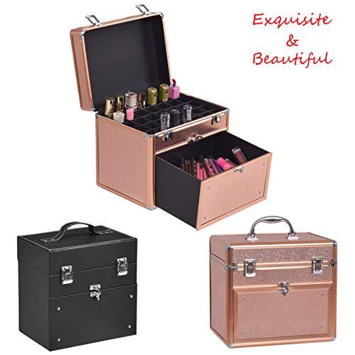 COSTWAY Kosmetikkoffer Nagellack Box Nagellack Organizer Beauty Case Schminkkoffer Multikoffer...