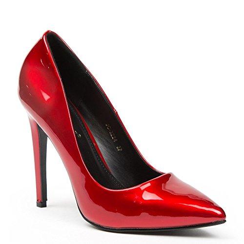 Ideal Shoes–Escarpins vernice Hania Rosso