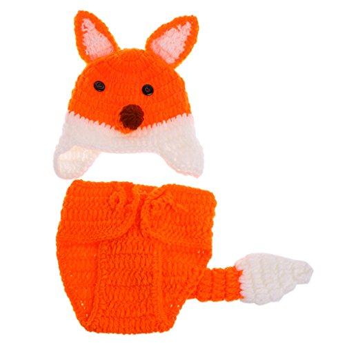 Sombrero y pantalones para bebé recién nacidos con accesorios para fotografía, disfraz de zorro de ganchillo