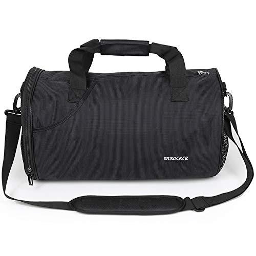 GMYQ Sport Gym Reisetasche, Trocken Nass Getrennt Schwimmen Kit Bag Wasserdichte Tasche Reisetasche für Männer und Frauen Handtasche, L, SCHWARZ