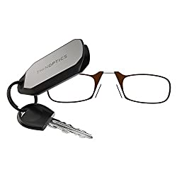 ThinOPTICS Keychain Reading Glasses, Brown Frame, 2.50 Strength