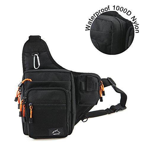 Hetto Angeln Umhängetasche-Sling Rucksack Wasserdicht Polyester 1000D-Schultertasche Multifunktion für Radfahren Wandern Camping Trekking