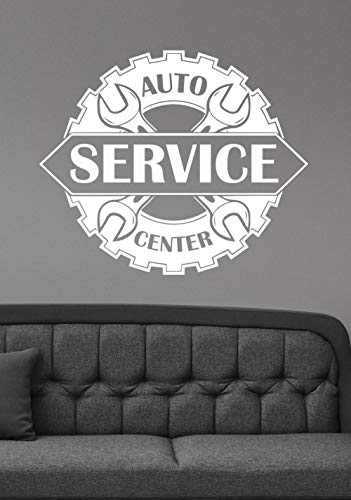zhuziji Auto Service Center Logo Wall Sticker Vinyl Repair Car Station Wall Decal Window Sign Art Mural Decor DIY 49x42cm -