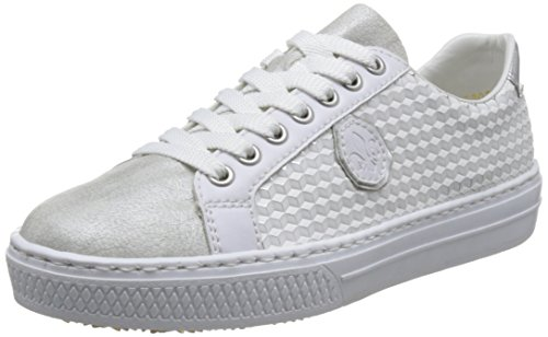 Rieker Damen L59B4 Sneaker, Weiß (White-Silver/Weiss/Silber/Argento), 37 EU