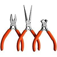 Kurtzy - 3 Pcs Zangenwerkzeugen - Drahtschneider, Flachzange, Rundzange und mehr - Hochleistungs Werkzeuge Set für Elektro- und Holzarbeiten, DIY und Schmuckherstellung - Ergonomischer Griff