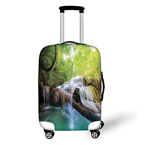 Travel Luggage Cover Suitcase Protector,Waterfall,Landscape with Flowing Water of Erawan Cascade in Rain Forest,Light Green Turquoise Brown,for Travels 19x27.5Inch -