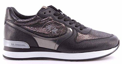 Scarpe Donna Sneakers LA MARTINA L2140246 Saffiano Nero Miraval Argento ITA New