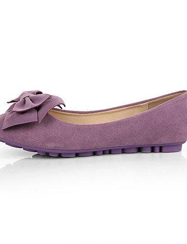 ZQ YYZ Damenschuhe-Ballerinas-Kleid / L?ssig-Wildleder-Flacher Absatz-Mokassin / Rundeschuh / Geschlossene Zehe-Schwarz / Blau / Gelb / Rosa / purple-us5 / eu35 / uk3 / cn34