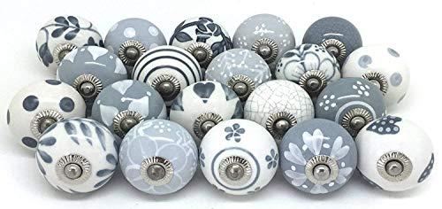 handicraft india - Tirador de cerámica para cajón de Armario (20 Unidades),...