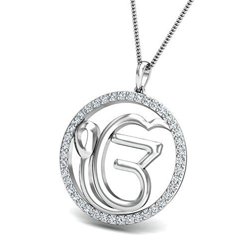 Chandrika Pearls Gems & Jewellers khanda Gold and Rhodium Plated Alloy God Pendant for Men & Women made with Cubic Zirconia