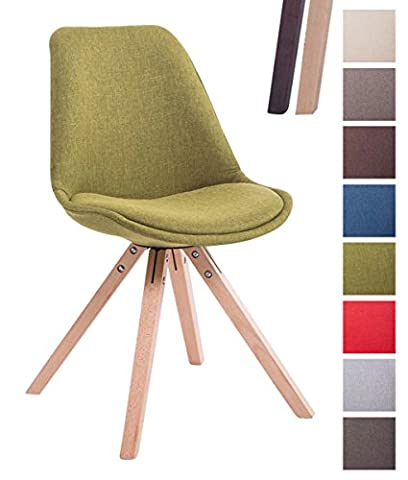 CLP Design Retro-Stuhl TOULOUSE SQUARE, Stoffbezug gepolstert Grün, Holzgestell Farbe natura, Bein-Form (Stoffbezug Für Stühle)