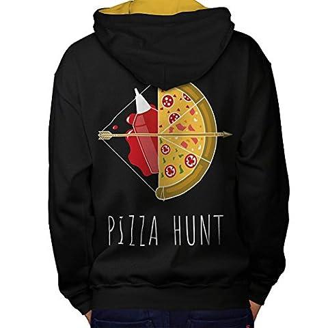 Pizza Jagd Pfeil Heiß Essen Men L Kontrast Kapuzenpullover Zurück | Wellcoda