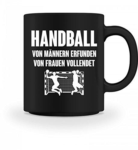 shirt-o-magic Handball: Von Frauen vollendet - Geschenk Handballer-in Handballspieler-in Handball-Fan - Tasse
