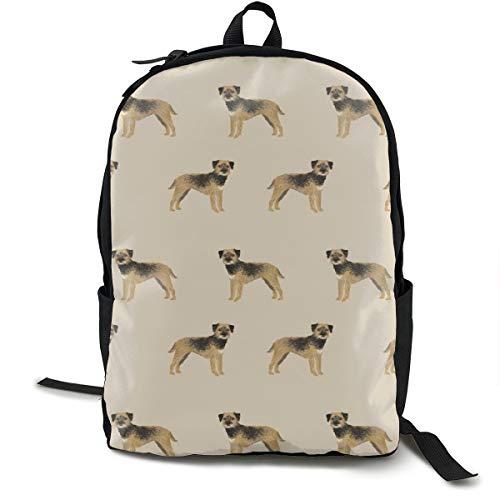 Border Terrier Fabric - Dog Dogs, Border Terriers, Tan Adult Premium Travel Backpack, Water-Resistant College School Bookbag, Sport Daypack, Outdoor Rucksack, Laptop Bag for Men&Women (Girl Adult School)