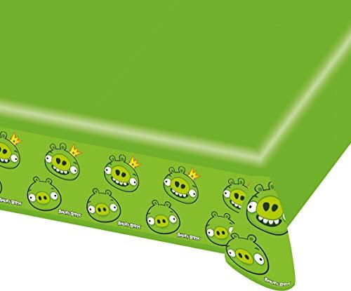 KULTFAKTOR GmbH Angry-Birds-Tischdecke Lizenzartikel für Fans grün 180x120cm Einheitsgröße