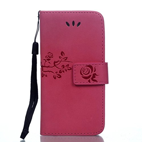 JIALUN-étui pour téléphone Avec la fente de carte, Lanyard, pression Belle Pattern Fashion Open Cell Phone Shell pour IPhone 5S 5 SE ( Color : Black , Size : IPhone 5S SE ) Rose
