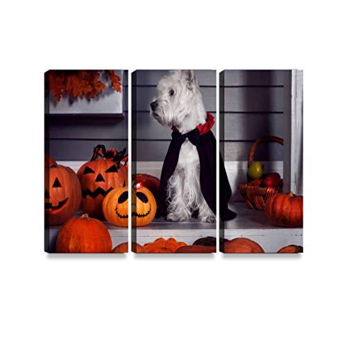 Trucken Kunst Hund in Halloween Dracula Kostüm Leinwanddrucke Wandkunst Hängen Gemälde Moderne Kunstwerke Abstrakte Bild Dekoration Geschenk Einzigartig Gestaltet mit Holzrahmen 3-teilig