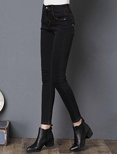Sentao Donna Vintage Jeans Skinny Vita Alta Leggings inverno Addensare caldo foderato Jeans Pantaloni Lunghi Matita Pantaloni Nero