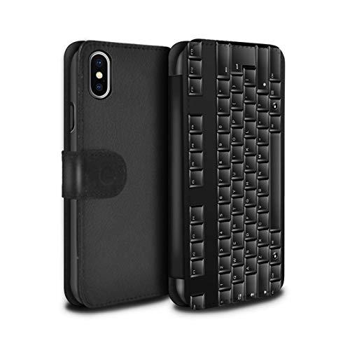 eSwish PU-Leder Hülle/Case/Tasche/Cover für Apple iPhone XS Max/Tastatur Muster/Schaltfläche/Tasten Kollektion - Iphone-tastatur-case