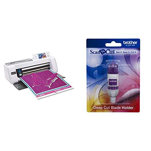 Brother ScanNCut CM300 Hobbyplotter mit Scanner & CAHLF1 Scan-N-Cut Halter für Schneidmesser/Tiefschnitte weiß