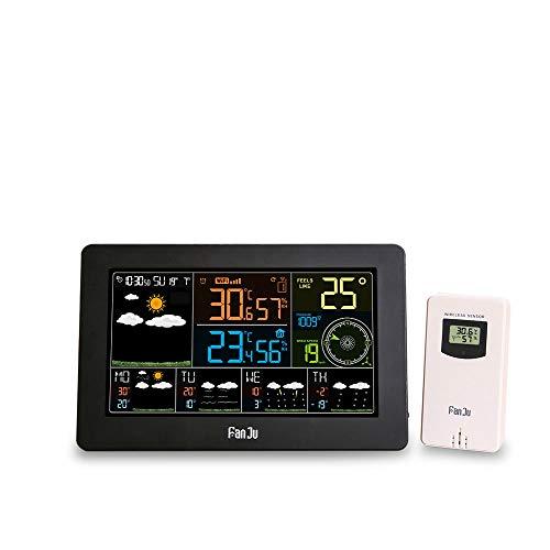 ZUEN Indoor-Hygrometer-Thermometerstand, WiFi-Wetterstation-Wand-Digital-Wecker-Thermometer-Hygrometer-zukünftiger Wettervorhersage-Windrichtungs-Barometer