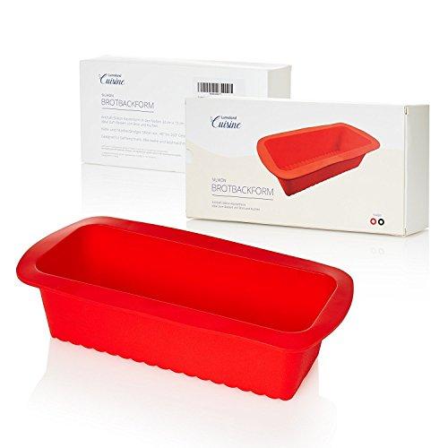 Lumaland Cuisine - Silikon Brotbackform ca. 24 x 13 x 5,5 cm hitzebeständig bis 260° C rot (Silikon-backformen Brot)