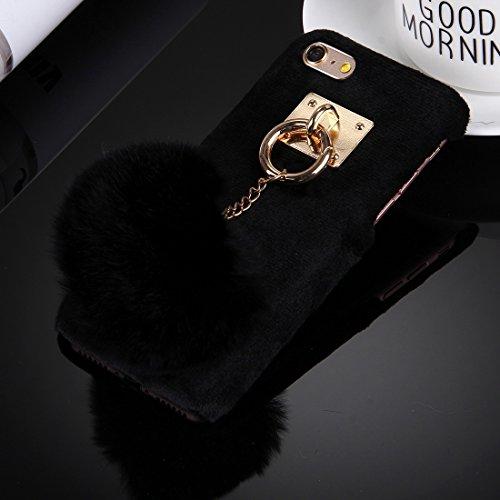 iPhone Case Cover Pour iPhone 6 & 6s Housse en tissu de poche Housse de protection pour PC avec pendentif en forme de boule à poils ( Color : Black ) Black