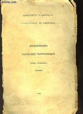 Microbiologie. Histologie Pathologique.