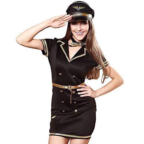 (CWZJ Erotische Uniform Cosplay Kostüm Schwarze Verführung Weibliche Polizei Spiel Kleid Night Shop Kostüm Thema Party Uniform,L)