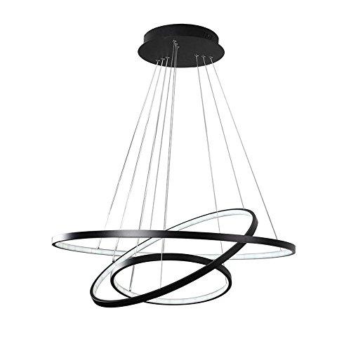 Modern LED Pendelleuchte 3 Ring Schwarz Rund Ring Design Hängeleuchte Acryl  Kronleuchter Metall Esstischlampe Beleuchtung Restaurant ...