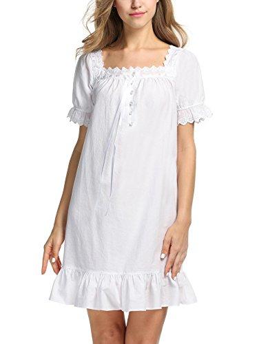 Keland Damen Nachthemd kurzarm Sleepshirt Schlafanzüge mit Lotusblatt Seite (Baumwolle Nachthemd Rüschen)