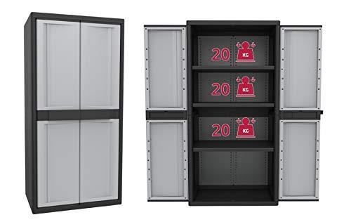 Kreher Aktions-Set: 2 XXL Kunststoffschränke, ca. 90 x 54 x 180 cm, mit höhenverstellbaren Böden und abschließbaren Türen -
