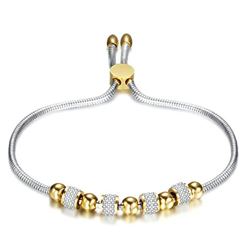Armband Armreif,Schmuck Geschenk, Luxury Stainless Steel Adjustable Bracelets Bangles Gold Silver Color Chains Bracelet Women Fashion Crystal Disco Ball Jewelry B
