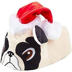 Zapatillas navideñas de carlino pug