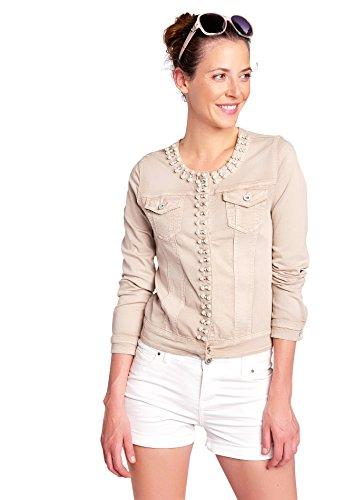 LOLALIZA Denim Jacket, Strass & Pearls - Beige - Size L (Snap Denim-pearl)