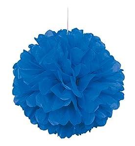 Unique Party- Pompón de papel de seda, Color azul rey, 40 cm (64273)