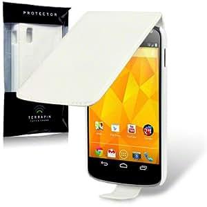 TERRAPIN Google Nexus 4 Premium PU Leather Slim Fit Flip Case/Cover/Pouch/Holster - White