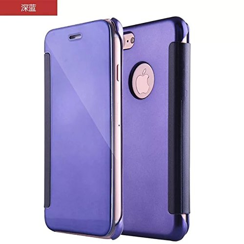 Meimeiwu Mirror Effect Flip Hülle Luxus Electroplate Spiegel Mirror Ultra Dünn Schutzhülle Bumper Case Cover für iPhone 7 - Dunkel Blau Dunkel Blau