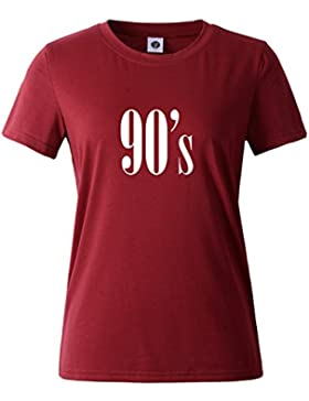 BLACKMYTH Señoras Manga Corta Letter Casual Hipster T-Shirt Redondo Moda Suelto Tees Tops