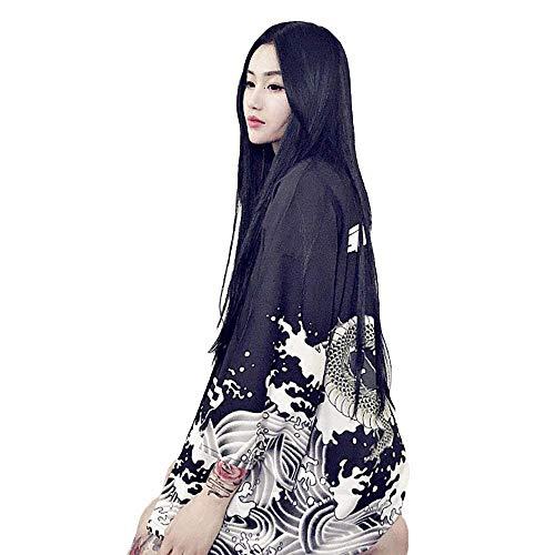 G-like Japanische Kimonos Damen Kleiung - Traditionell Haori Kostüm Robe Tokio Harajuku Drachen Muster Antik Jacke Nachthemd Bademantel Nachtwäsche (Schwarz) (Drachen Geisha Kostüm)
