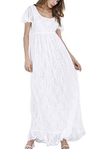 Damen Schwanger Ist Spitze Lange Eleganten Kleid Und Größe White