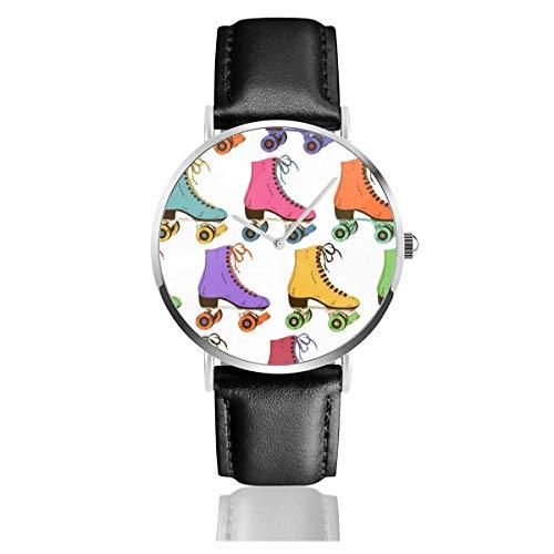 Rollschuhe gedruckt schwarz Quarzwerk Edelstahl Lederband Uhren Casual Fashion Armbanduhren